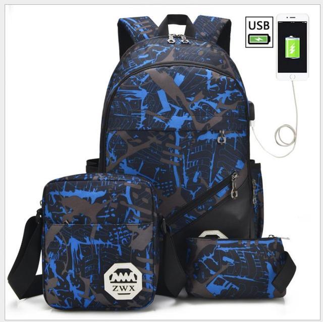 3Pcs Usb Mannelijke Rugzak Tas Set Rood En Blauw Hoge Schooltas Voor Jongens Een Schouder Grote Student Boek tas Mannen School Rugzak Vrouwen