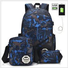 3pcs USB Male backpack bag set red and blue high school