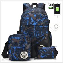 3pcs USB Male backpack bag set red and blue high school bag