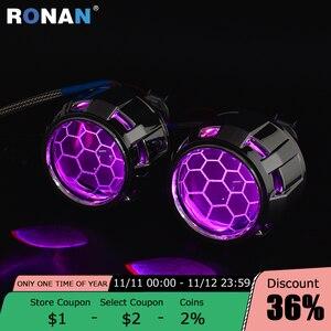 Image 1 - RONAN 2.5Ver8.1 blue coating Bi xenon HID MINI projector Lens H1 car headlight H4 H7 base adapter ring Car Styling retrofit
