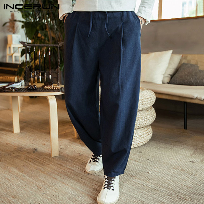 INCERUN Fashion Trend Men Solid Elastic Waist Wide Leg Pants Comfort Cotton Casual Straight Trousers Joggers Mens Sweatpants