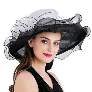Image 3 - Women Derby Hat Luxury Ruffle Brim Floral Aside Patchwork Organza Wide Brim Hat Lady Spring Summer Sun Church Party Wedding Hat