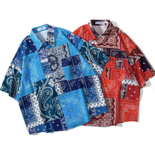 Men Shirt Short Sleeve Blue Red 2021 New Summer Loose Pocket Flowers Male Shirt Thin Comfortable Student Chinese Style S63