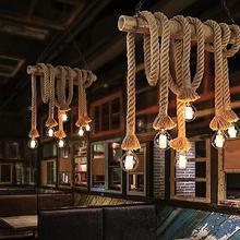 1/1. 5M candelabro de techo de cuerda de cáñamo rústico Vintage E27 220V lámpara colgante luces de doble Cabeza colgando para la decoración del Bar de la sala de estar