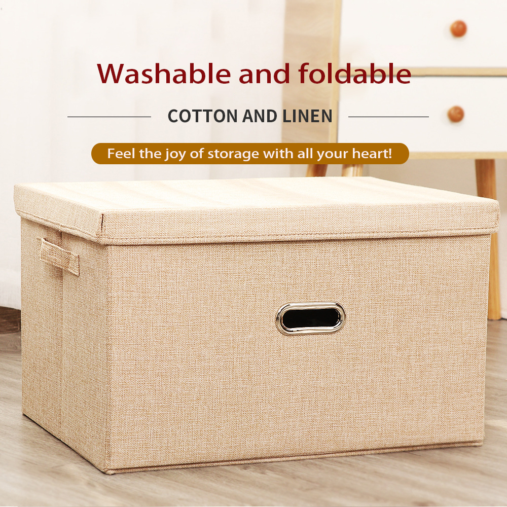 Washable Cotton And Linen Cloth Box With Lid Storage Box Oversize Desktop Folding Storage Products Environmental Protection