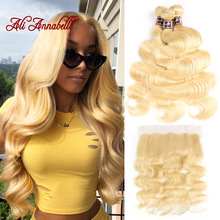 Closure Bundles Human-Hair Blonde Frontal Body-Wave Brazilian