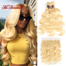 613 Bundles with Frontal Brazilian Body Wave Human Hair With Frontal Closure Blonde Human Hair Lace Frontal Closure With Bundles