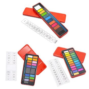 36 colors art solid pigment professional box with paintbrush portable set portable colored pencils for drawing paint watercolors 12/18/24 Colors Pigment Solid Paint Set Watercolor Palette with Brush Box Portable Drawing Art Painting Tool