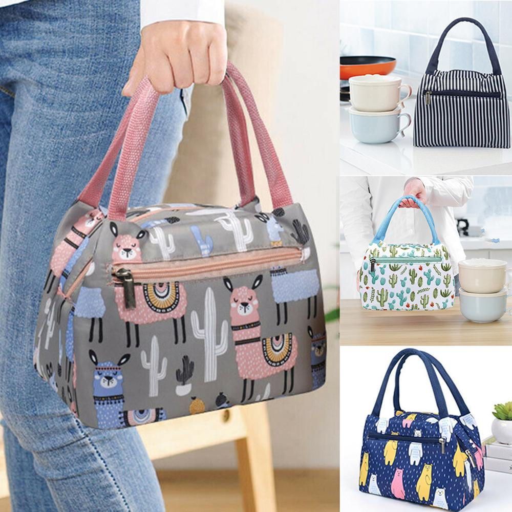 Cartoon Printed Lunch Bag Insulated Thermal Cool Bags Picnic Food Box Supply Acc