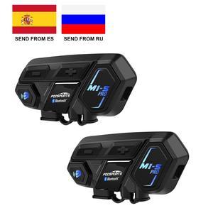 Image 1 - Fodsports 2 adet M1 S Pro motosiklet kaskı interkom 8 binici kask Bluetooth kulaklık su geçirmez Intercomunicador Moto interkom