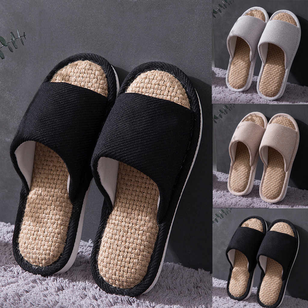 Shoes women slippers men fashion summer casual shoes couple indoor linen shoes household cotton slippers botas mujer