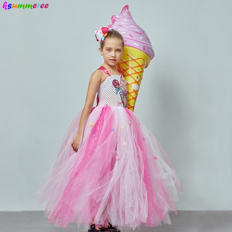 Ice Cream Sweet Candy Girls Tutu Dress with Hair Bows Kids Birthday Tutu Costume Pageant Princess Gown Dress Lollipop Dress 3