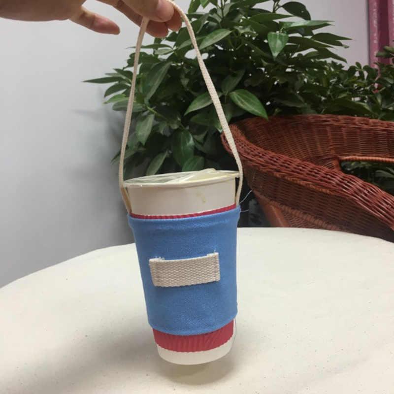 Cetak Kanvas Susu Teh Set Botol Minum Tali Portabel Dudukan Botol Air Membawa Tas Kopi Piala Penyimpanan Lengan Penutup Kantong