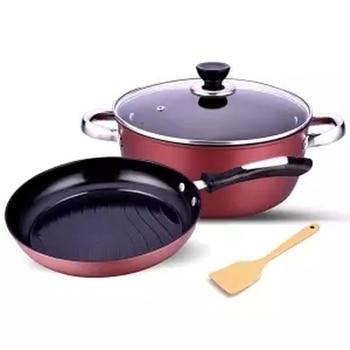 Pan 2 Pieces Non-stick Cookware Combination Frying Pan Soup Pot Two-piece Smoke-free Pan Cooking Pan Egg Pan Cast Iron Pan