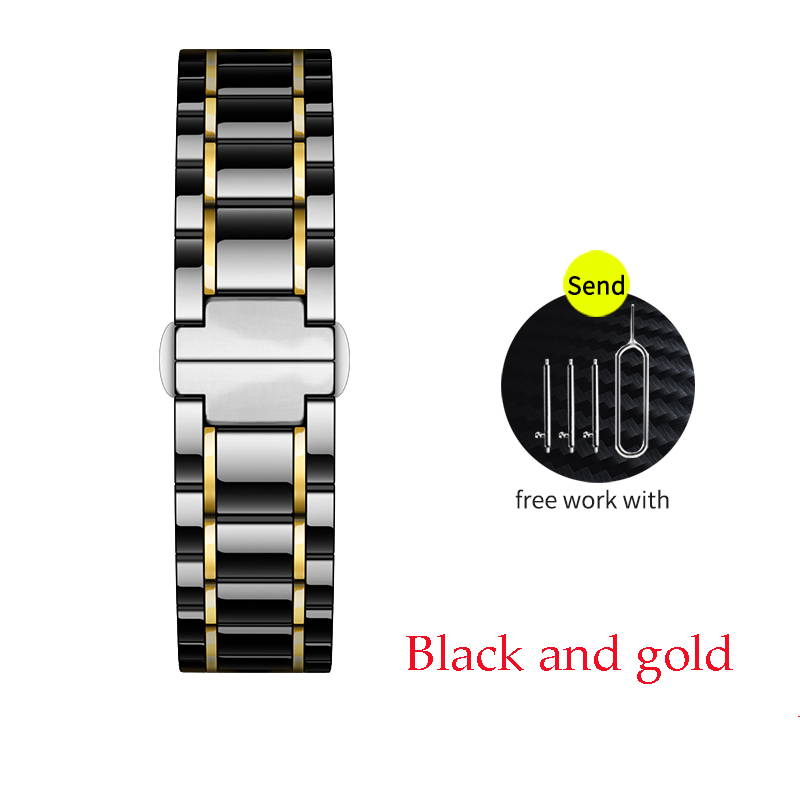 Керамический ремешок для часов для xiaomi smart watch сменный ремешок для mi часы браслет-цепочка ремешок аксессуары - Цвет ремешка: black and gold