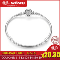 Luxury 100% 925 Sterling Silver Sparkling Heart Snake Chain Fit Original Charm Bracelet & Bangle For Women Fine Jewelry XCHS916