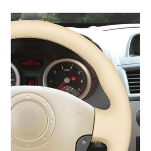 Image 5 - Hand stitched Beige PU Artificial Leather Steering Wheel Covers for Renault Megane 2 Scenic 2 Grand Scenic Kangoo 2 2002 2013