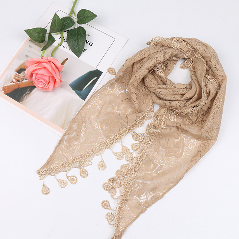 2019 Triangle Lace Floral Hijab Scarf Tassels Butterflies Shawls Muslim Fringed Shawls Wraps Fashion Headband Scarves 150*50Cm