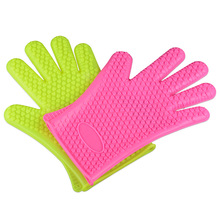 Silicone non-slip gloves   Five finger microwave oven anti-scalding   High temperature insulation barbecue gloves 4pcs13 13cm thickness 0 4mm universal cuttable insulation high temperature insulation mica sheet microwave oven insulation sheet