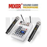 Tüketici Elektroniği'ten DJ Ekipmanı'de Debra DJ konsol karıştırıcı ses kartı ile 2 kanallı UHF kablosuz mikrofon ev PC için stüdyo kayıt DJ ağ canlı Karaoke
