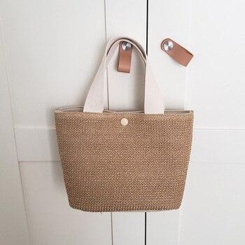Mododiino Woven Handbag Small Bag Brand Women Bag Casual Straw Bag Women Summer Rattan Bags Beach Bag Straw Bucket Bag DNV1429