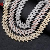 GUCY 16mm Miami Cuban Chains Necklace For Men Gold Silver Color Hip Hop Iced Out Paved Bling CZ Rapper Necklace Jewelry