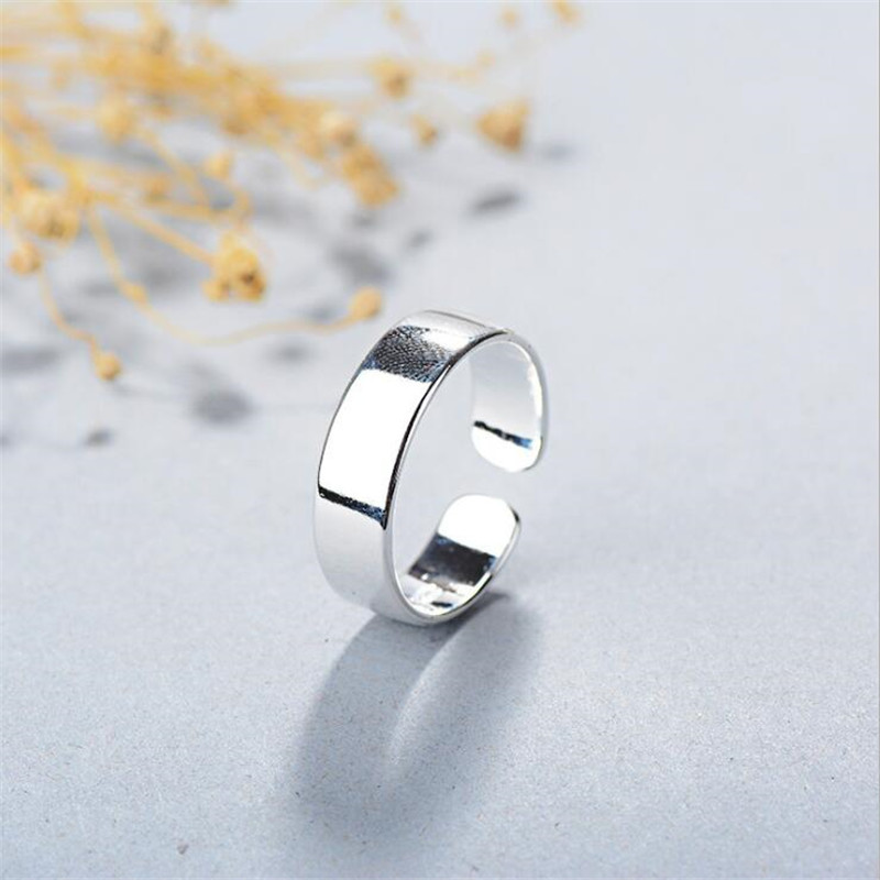 New Simple Creative Smooth Silver plated Jewelry Not Allergic Temperament Round Inisex Fashion Popular Opening Rings R209