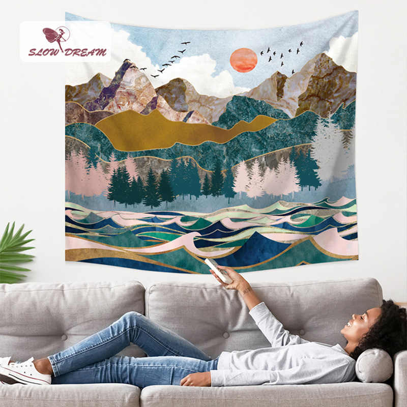 Slowdream zachód słońca gobelin na ściany sufitu grube flanelowe koc wiszące na ścianie piknik maty stół Sofa pokrywa salon łóżko arkusz