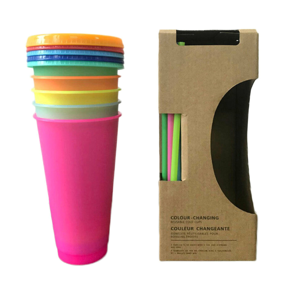 5pcs 700ML Temperature Change Color Cups Coffee Cup Mug Water Bottles with Straws