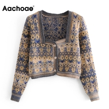 Cardigan Sweater Jumper Long-Sleeve Aachoae Fashion Women Ladies Knitted Tops Spring