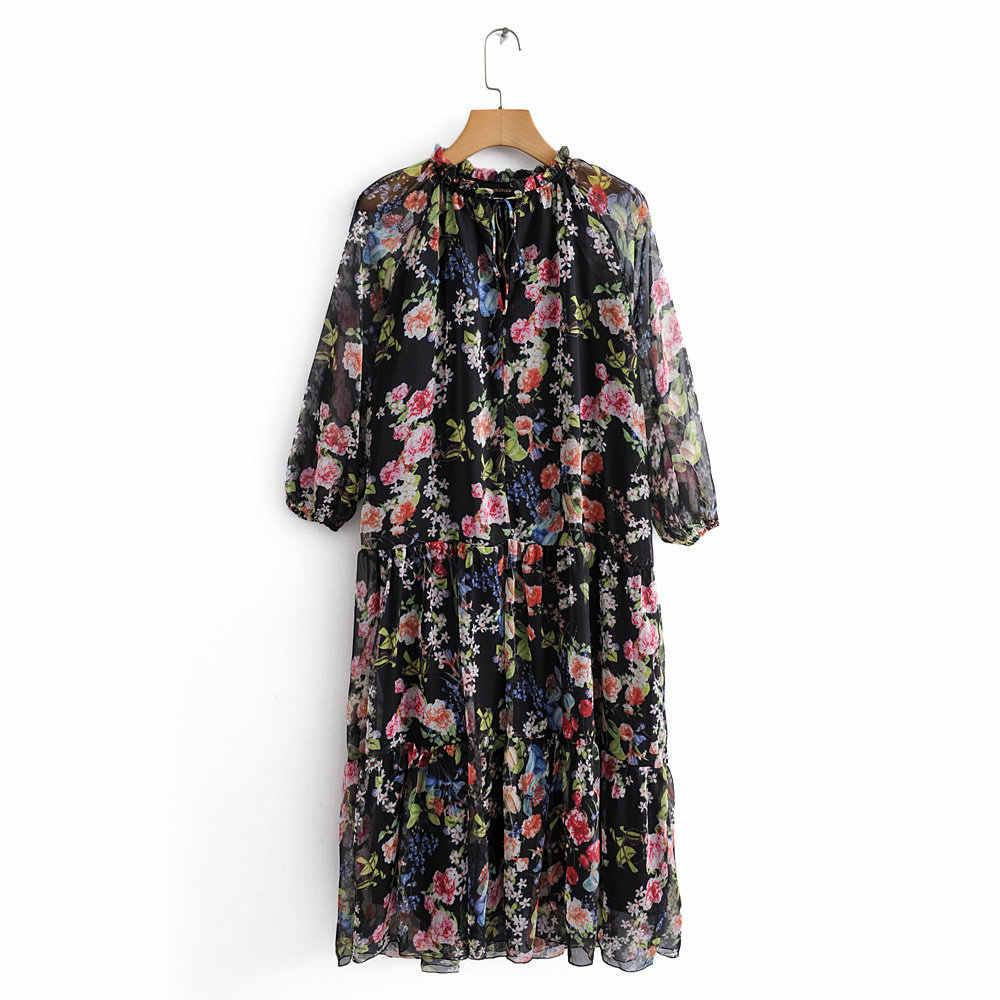 ZA 2019 New Mixed Colorful Printing Fashion Dress Women Clothes Boho Leisure Statement Loose V-neck Dress Party Gifts Wholesale
