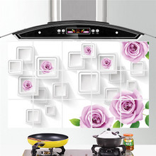45CM*75CM 3D Kitchen Wall Stickers Tile Door Decoration Waterproof Anti Oil Tinfoil Paper
