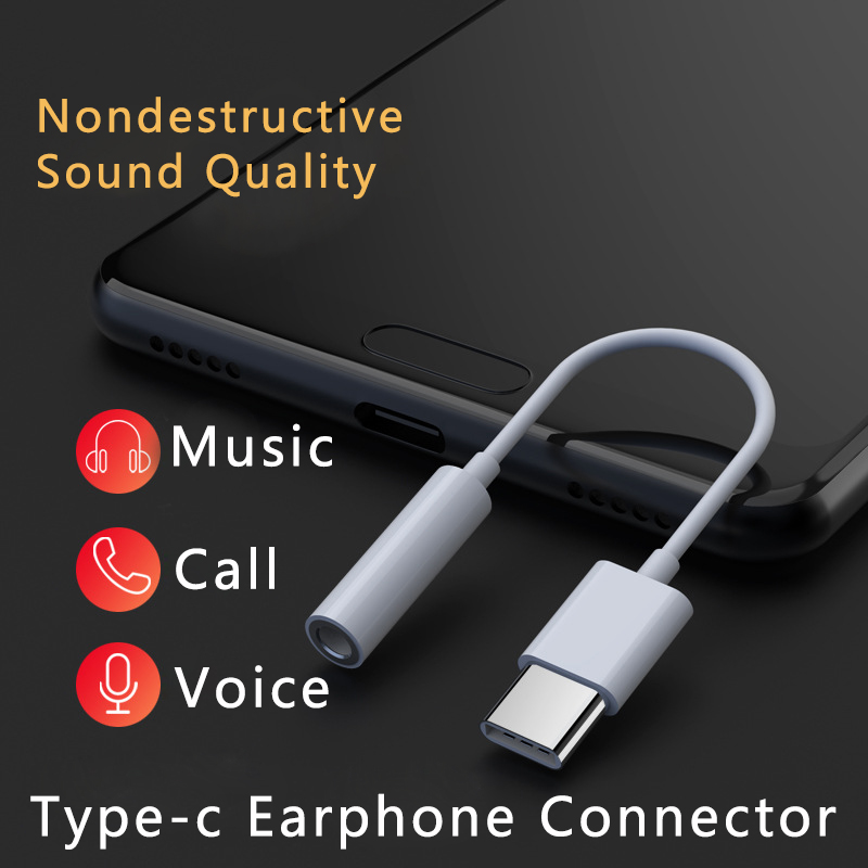 For Xiaomi Type C To 3.5mm AUX Adapter Universal Android Smartphone Headphone Adapter Mini Type-C Audio Frequency Jack Splitter