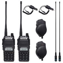 1 adet/2 adet Walkie Talkie Baofeng UV 82 radyo istasyonu 5W taşınabilir Baofeng UV 82 radyo amatör BF UV82 çift PTT İki yönlü radyo 2 PTT