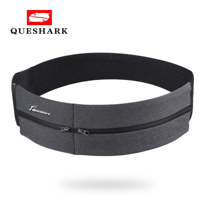 Queshark Elastic Waistband Sport Bag Double Zipper Pocket Waist Bag Running Gym Yoga Waist Belt Pack Mobile Phone Wasit Wallet