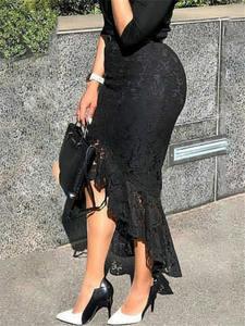 Lace Skirt Hip-Jupes Classy Midi Office Irregular-Length Slim Elegant Black High-Waist