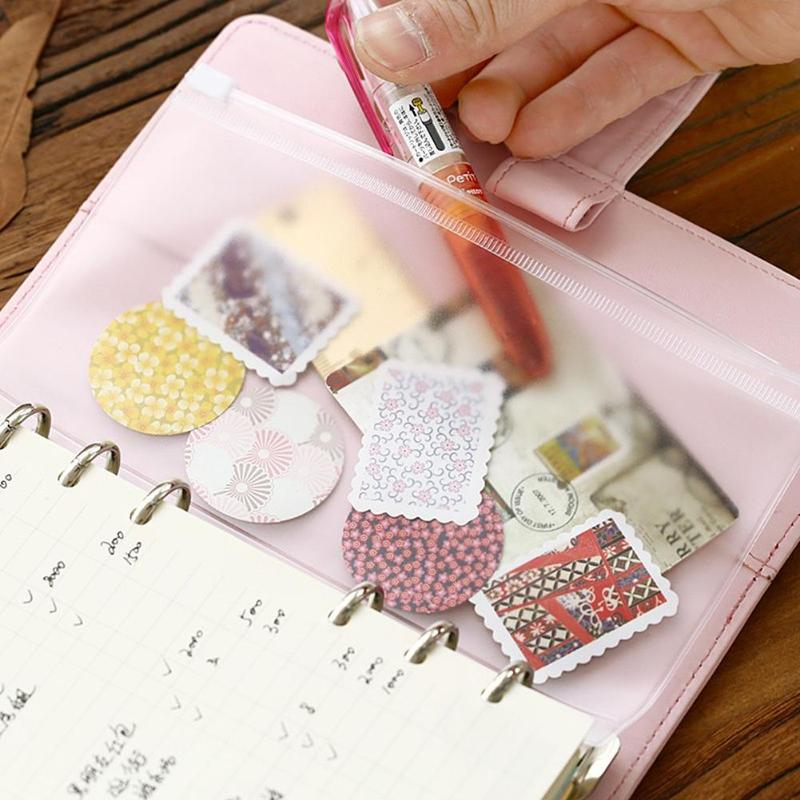 1pc PVC Storage Card Holder A5 A6 A7 Transparent  File Holders Loose Leaf Pouch 6 Holes Zipper Bag Diary Planner Accessories