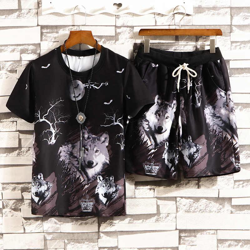 Trainingsanzug Männlichen 2020 Männer Kleidung Sportswear-Set Fitness Sommer Druck Männer Shorts + T shirt herren Anzug 2 Stück sets Plus Größe 5XL