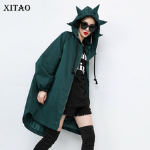 XITAO Tide Hat Zipper Long Sleeve Trench Coat Fashion Individuality Pocket Irregular Loose Casual Plus Size Dress 2019 WQR1917
