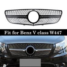 Para mercedes v classe w447 grades de diamante vito v260 v250 racing grille 2016 18 sem emblema
