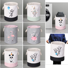 EVA Canvas Fabric Round Collapsible Laundry Basket Dirty Clothes Organizer Toys Storage Box Bin Bucket Hamper With Handles 1pc(China)