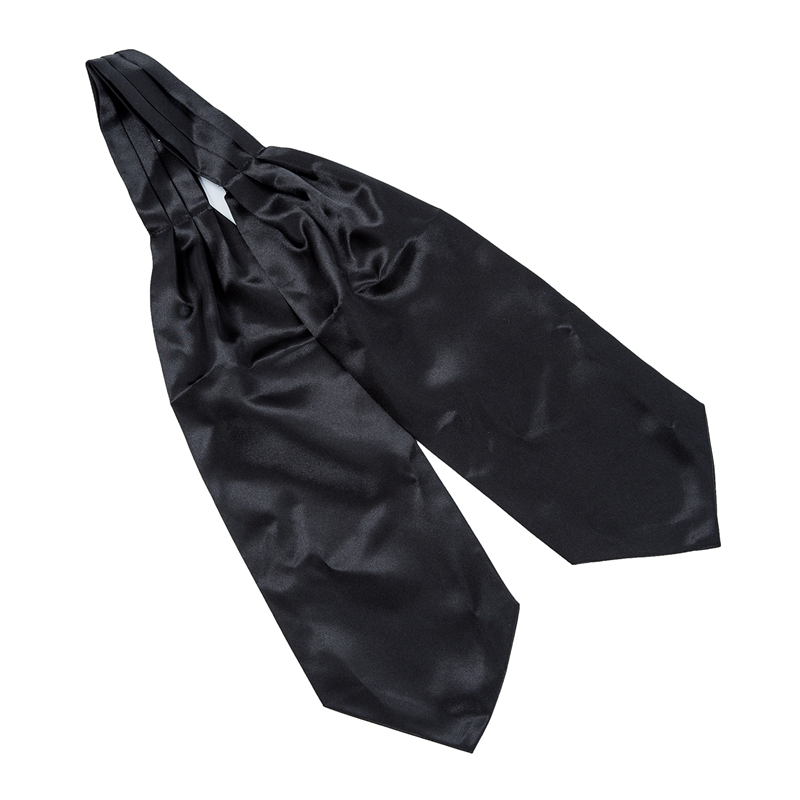 Satin Tuxedo Wedding Self Tie Ascot Cravat Necktie Scarf For Men - Black