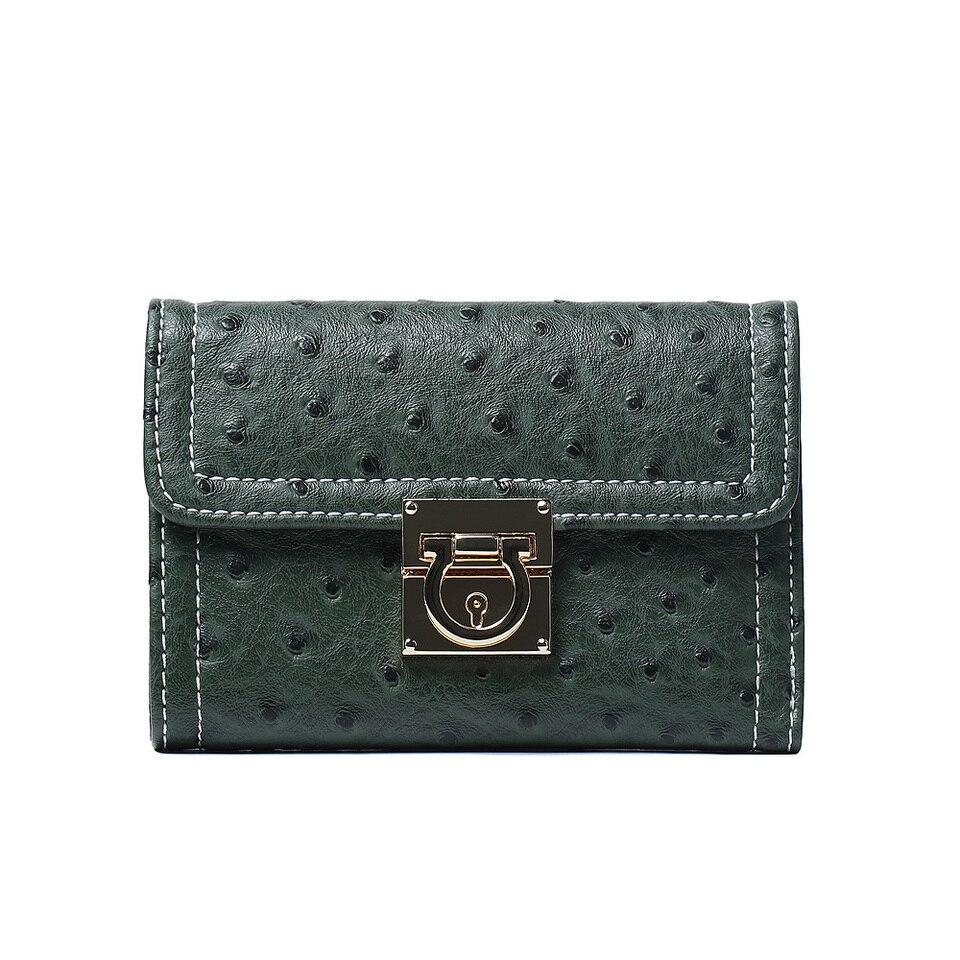 Ostrich Pattern Medium Size Purse Lady Wallets Designer Faux Leather Card Holder