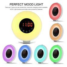LED Alarm Clock Wake Up Light Lamp Simulates Sunrise And Sunset Radio FM Radio Multiple Alarm Sounds USB Charging wake up light sunrise simulation alarm clock with sunset