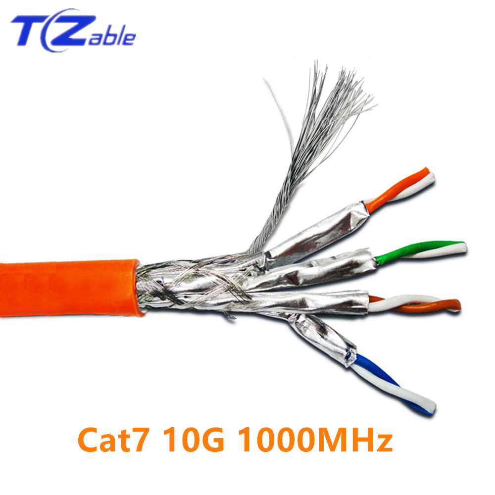 Length JINYANG CAT7 Gold Plated Dual Shielded Full Copper LAN Network Cable 15m
