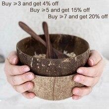 De coco Natural tazón cuchara conjunto creativo de cáscara de coco ensalada de frutas fideo arroz cuenco tazón de madera vajilla cocina de restaurante