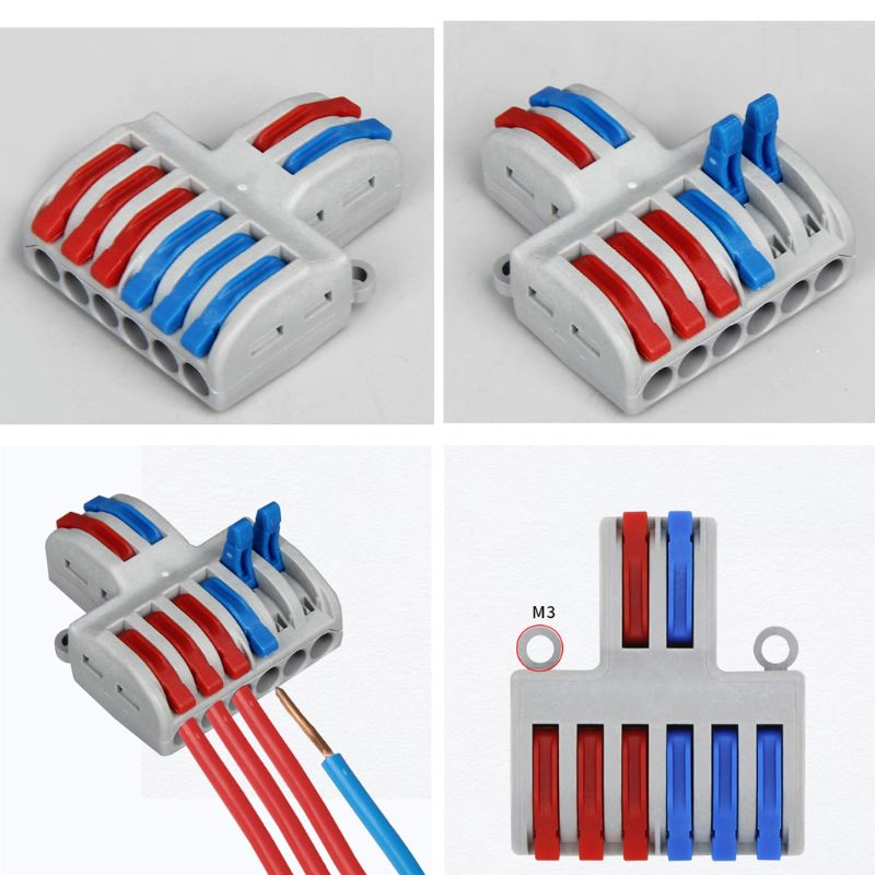 5PCS SPL-42//62 2 In 4//6 Out Mini Quick Wire Connector Wiring Cable Connector