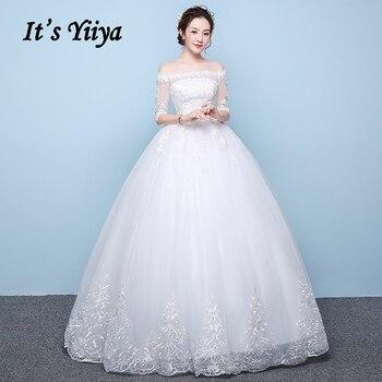 Wedding Dresses Lace It's Yiiya AR715 Boat Neck Vestidos De Novia Three Quarter Sleeve Wedding Gowns Plus Size Bridal Dress