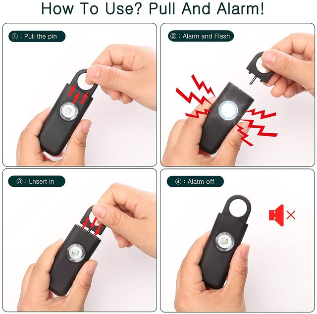 Personal Safety Alarm Self Defense Siren 130dB for Women Keychain with SOS LED Light Personal Security Keychain Alarm 2