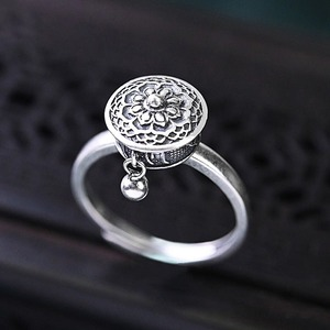 New S925 Sterling Silver Religious Retro Small Bead Charm Temperament Opening Adjustable Couple Ring